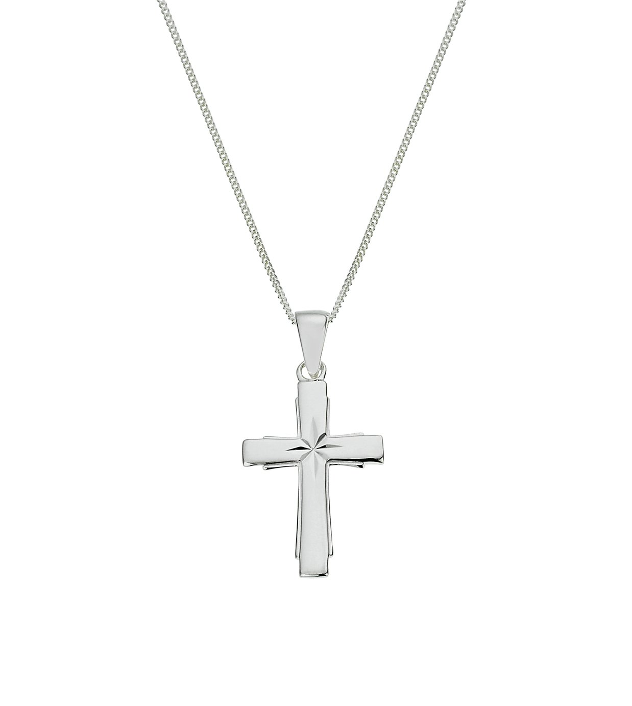 Revere Silver Cross Diamond Cut Pendant 18 Inch Necklace