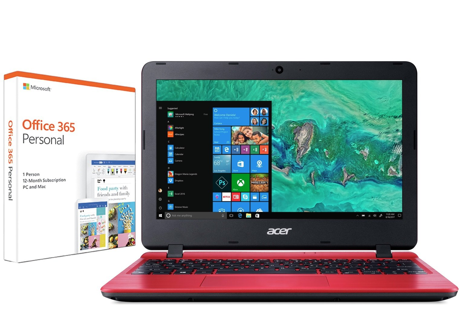 Acer Aspire 1 11 Inch Celeron 2GB 32GB Cloudbook - Red