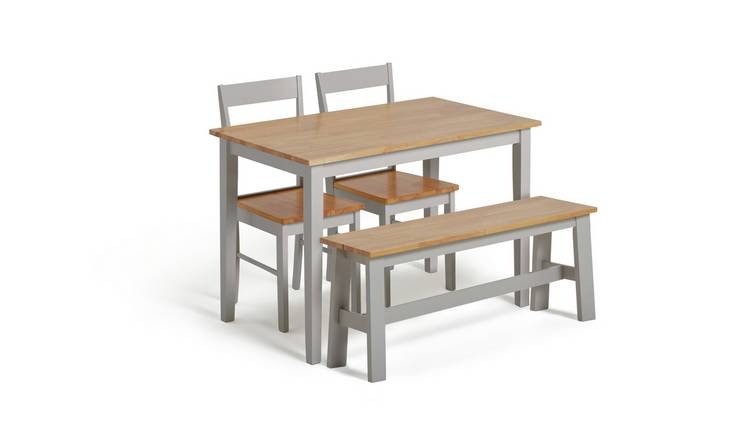 Habitat Chicago Solid Wood Table, Bench & 2 Grey Chairs