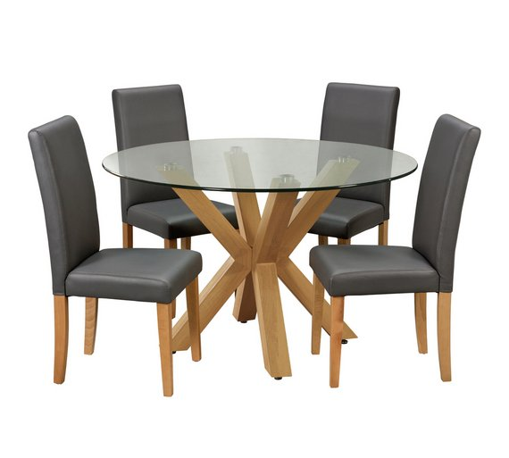 Buy Argos Home Alden Round Glass Table 4 Chairs Charcoal