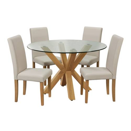 Buy Argos Home Alden Glass Dining Table & 4 Cream Chairs