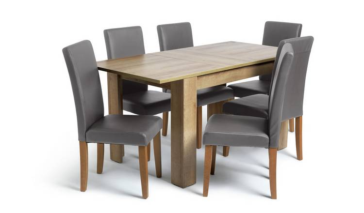 Habitat Miami Extending Table & 6 Charcoal Chairs