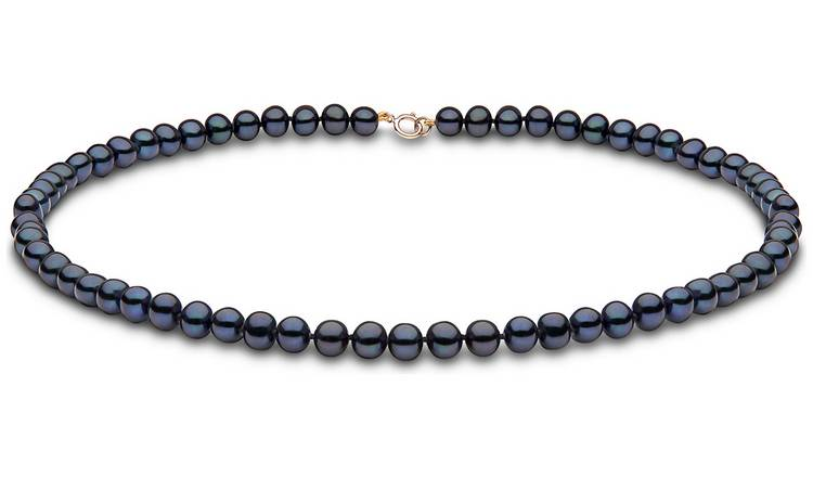 8b90bfeebc6f24 Buy Revere Black Freshwater Pearl 18inch Necklace | Womens ...