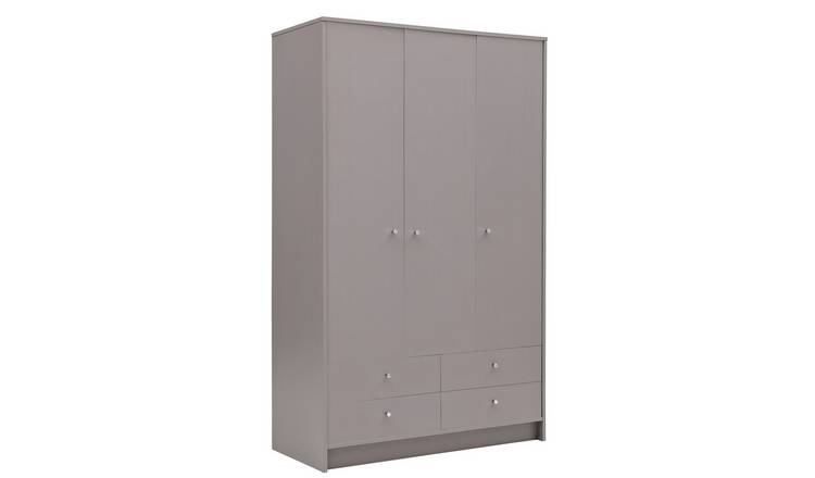 Habitat Malibu 3 Door 4 Drawer Wardrobe - Grey