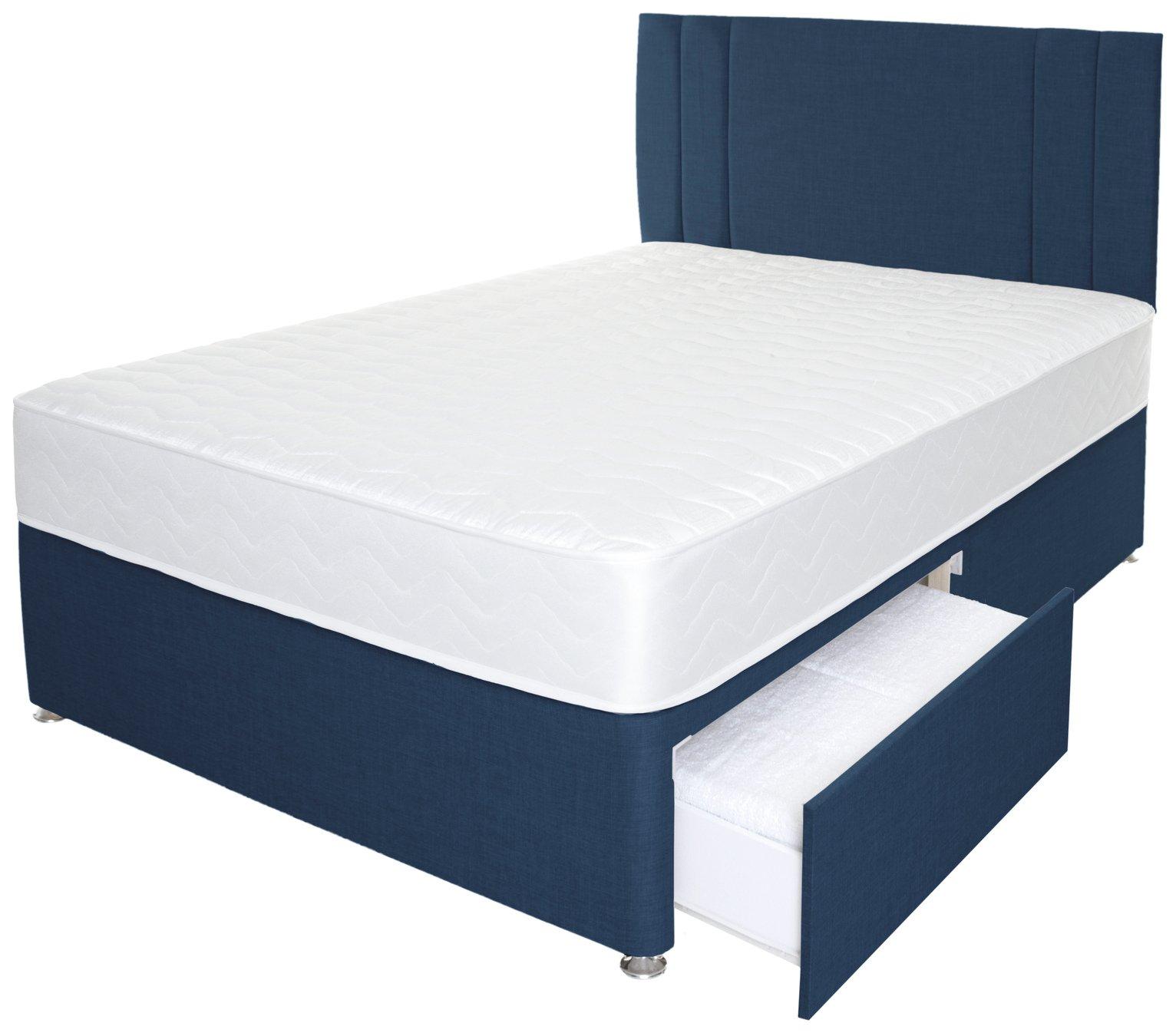 Airpsrung Henlow 1200 Mem  2Drw Divan Bed & Headboard - Blue at Argos