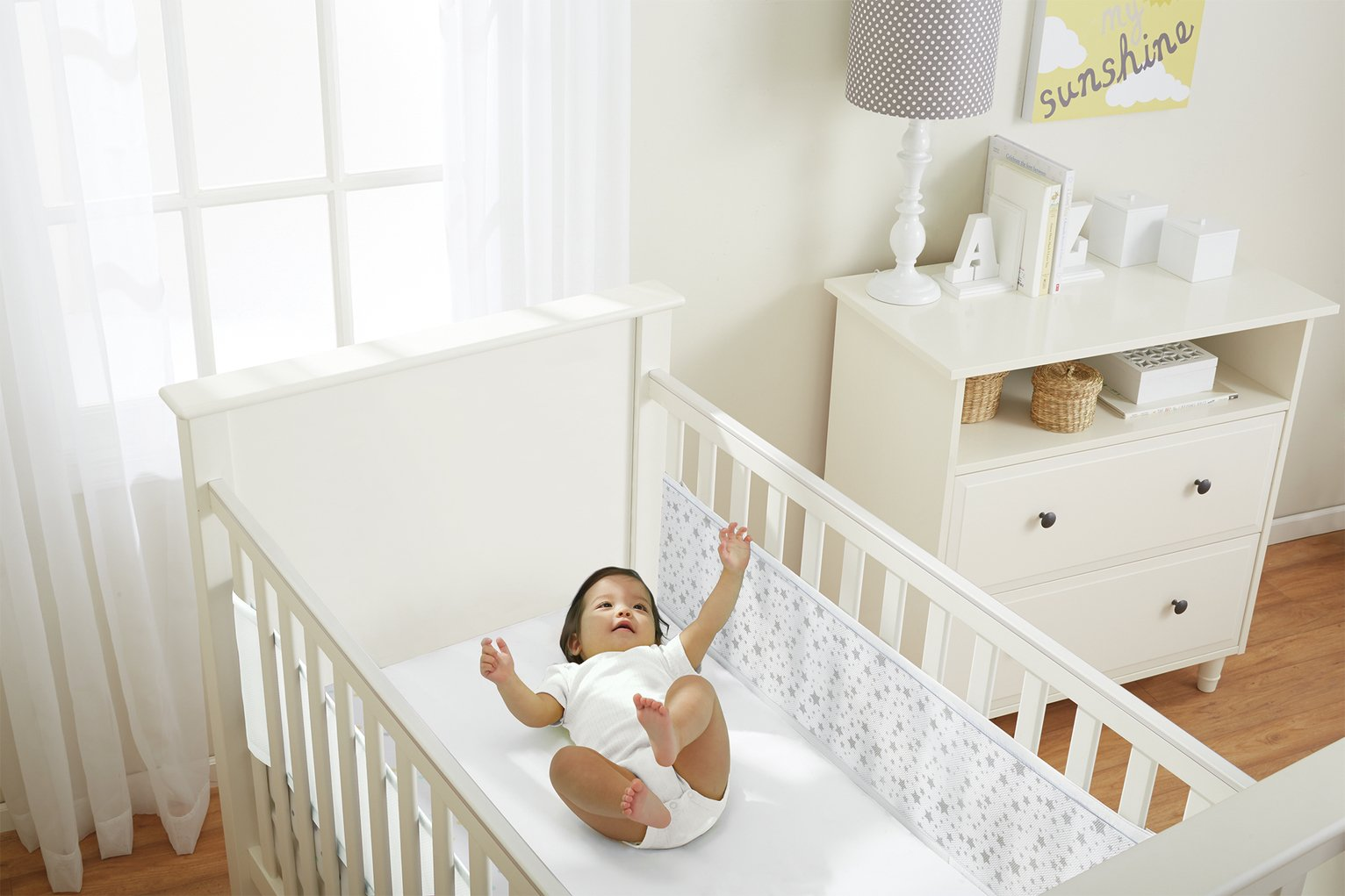 BreathableBaby 2 Sided Cot Liner - Twinkle Grey