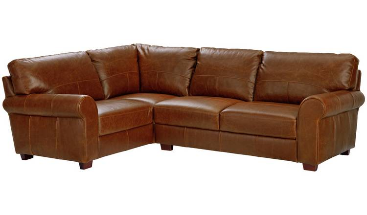 Argos Home Salisbury Left Corner Leather Sofa - Tan