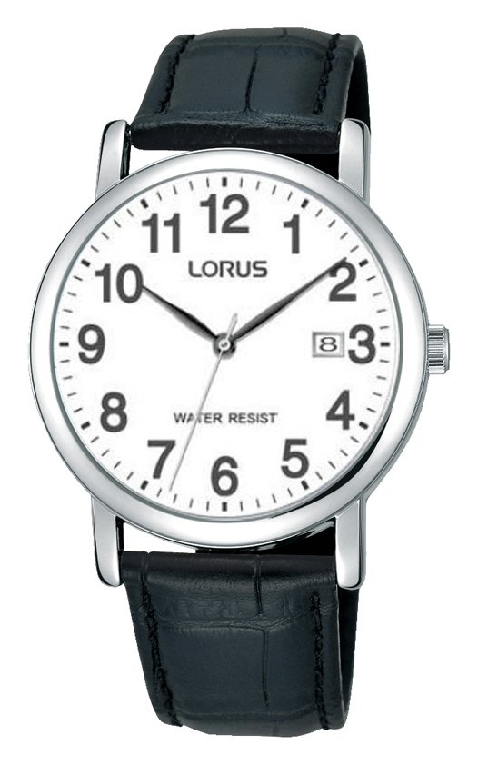 Lorus Men's Black Crocodile Effect Leather Strap Watch