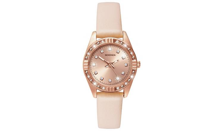 Sekonda Ladies Rose Gold Plated Stone Set Nude Strap Watch