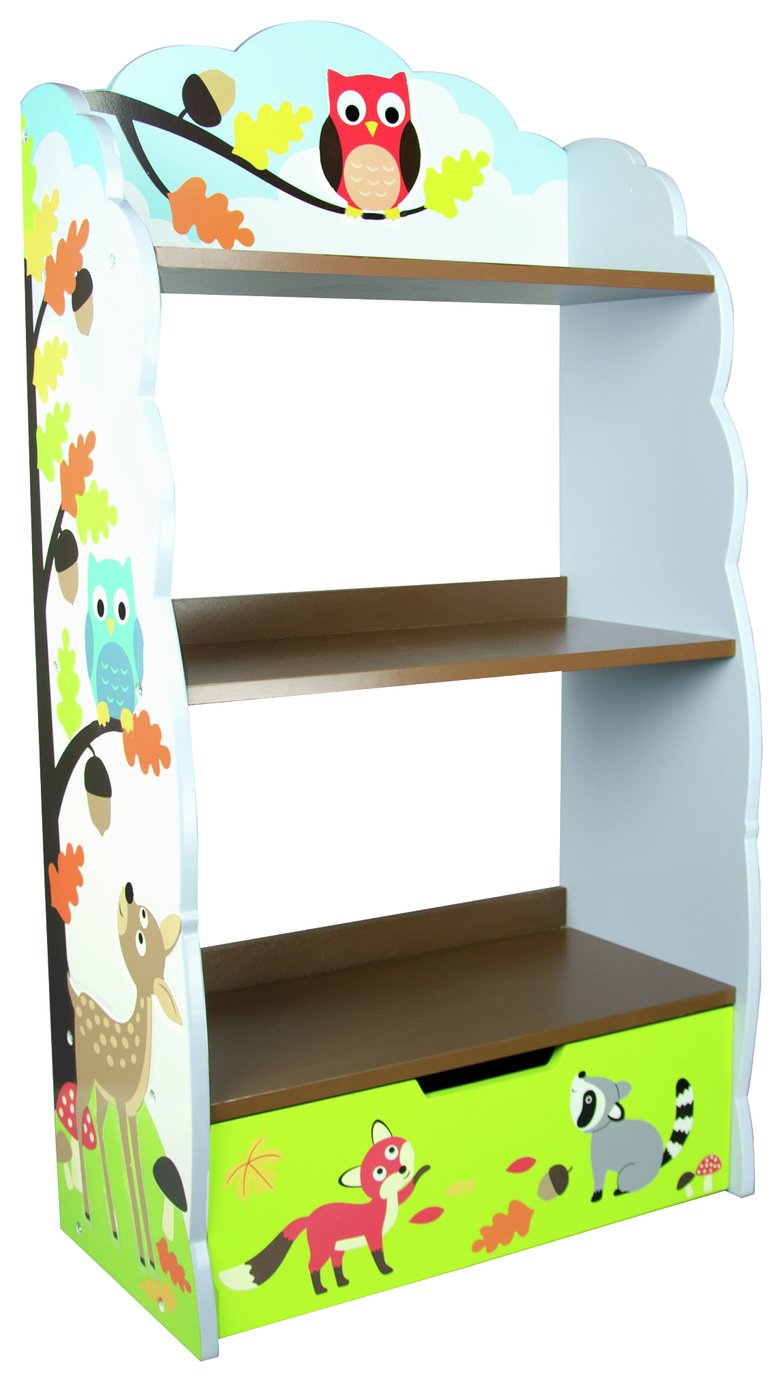 Fantasy Fields - Enchanted Woodland themed Blue Book Case Kids Wooden Bookcase with Storage Drawer| Hand Crafted & Hand Painted Bookshelf | Child Friendly Water-based Paint Best Price and Cheapest