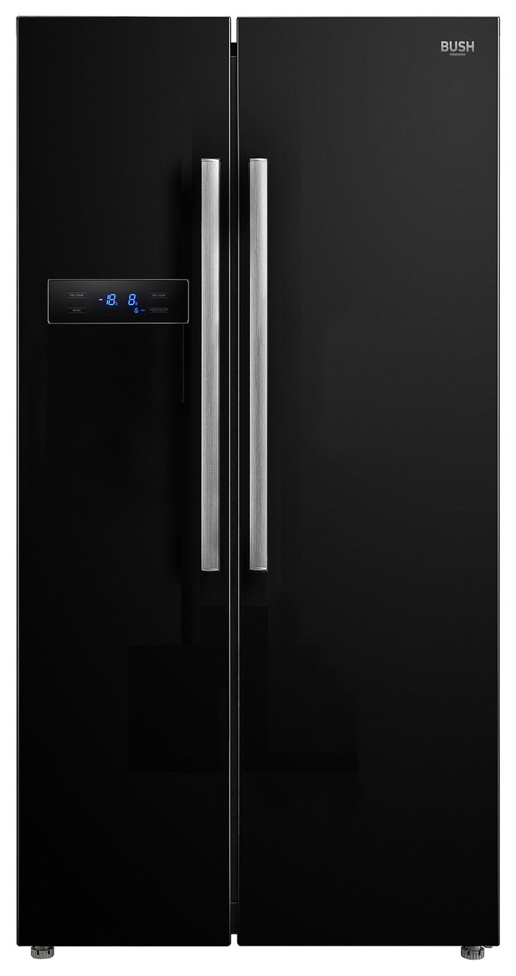Bush MSBSNFB American Fridge Freezer - Black Best Price, Cheapest Prices