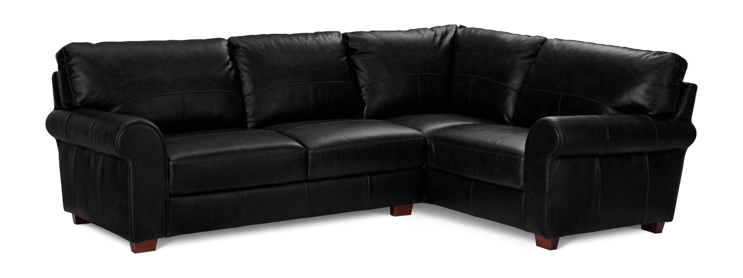 Argos Home Salisbury Right Corner Leather Sofa - Black