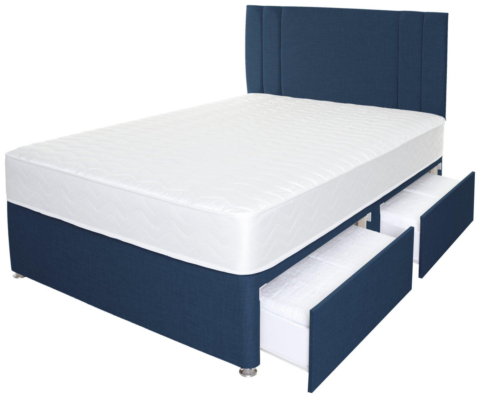 Airpsrung Henlow 1200 Mem  4Drw Divan Bed & Headboard - Blue at Argos