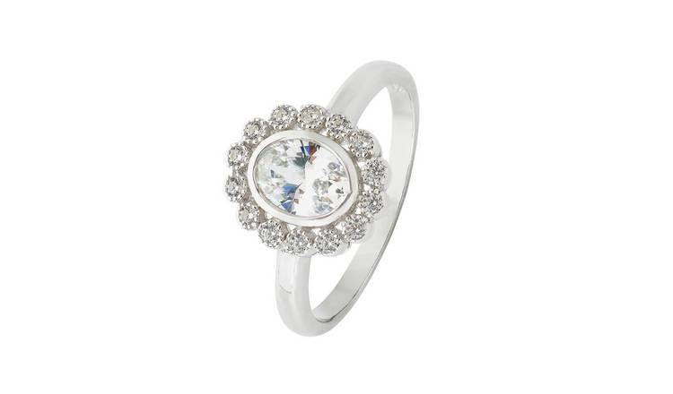 f36262125c32 Buy Revere Sterling Silver Vintage Style CZ Oval Halo Ring