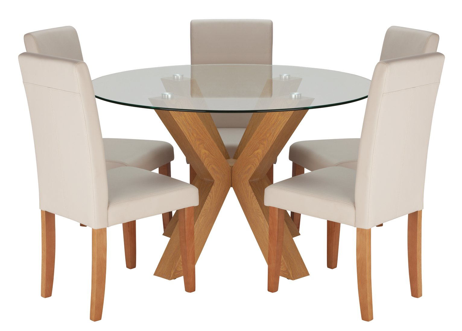 Argos Home Alden Glass Round Table and 6 Chairs Reviews
