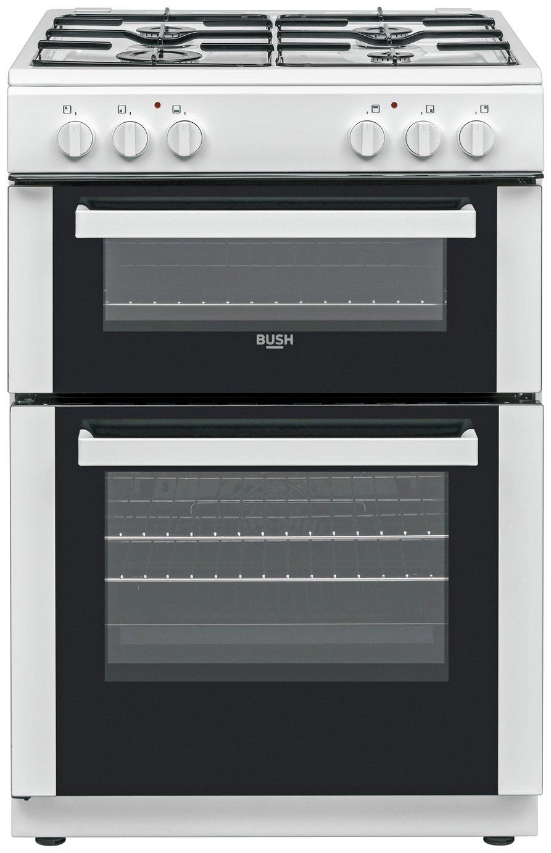 Bush DHBDFDBL60W 60cm Double Oven Dual Fuel Cooker - White