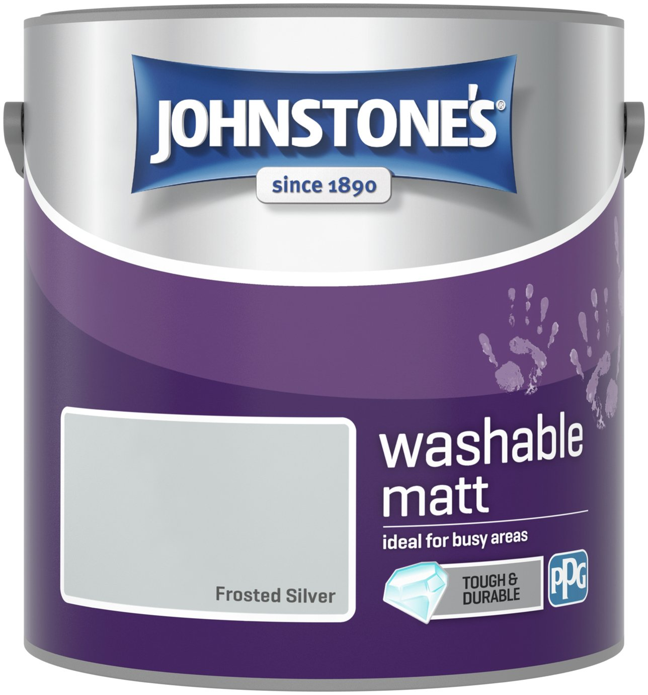 Johnstone's Washable Matt Paint 2.5 Litre - Frosted Silver