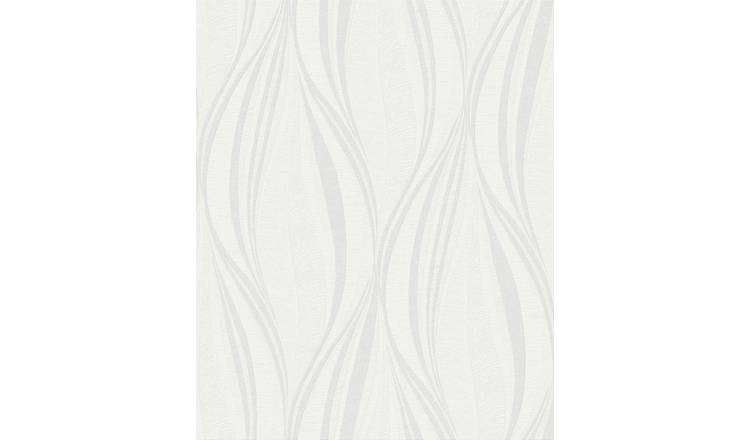 Boutique Tango - White & Silver Wallpaper