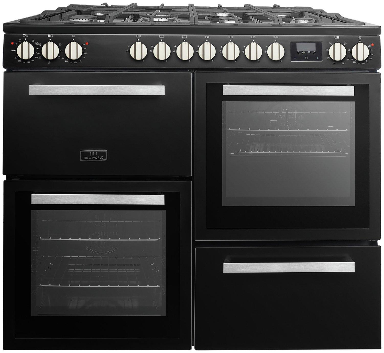 New World NWNESS100DFB 100cm Dual Fuel Range Cooker - Black