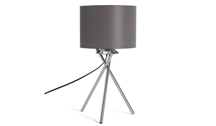 Habitat Tripod Table Lamp - Grey and Chrome