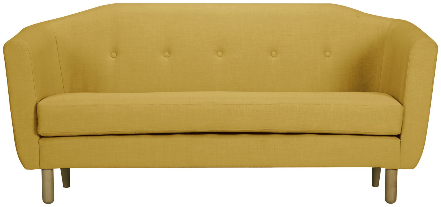 Argos Home Elin 3 Seater Fabric Sofa - Yellow