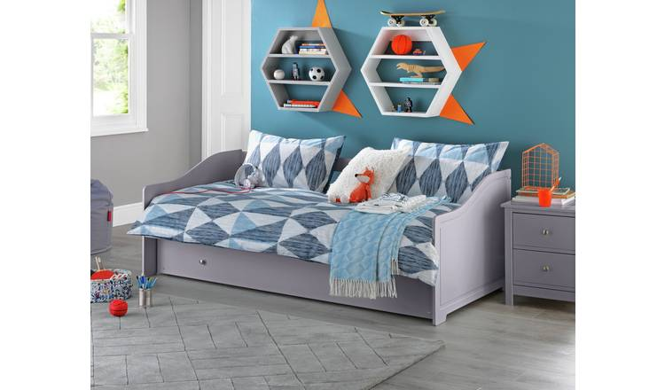 Argos Home Brooklyn Wooden Day Bed with Trundle - Grey