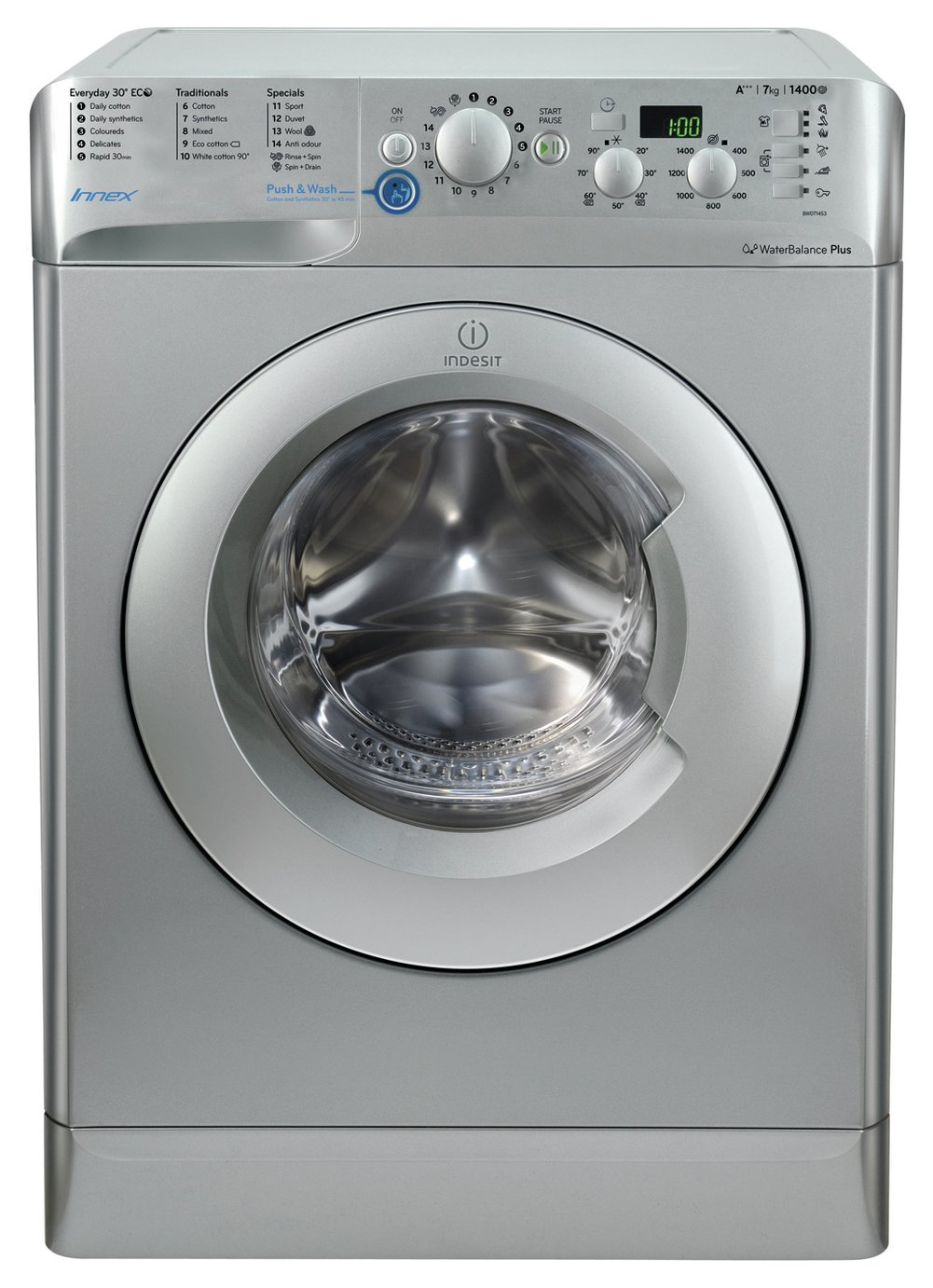 Indesit BWD71453SUK 7KG 1400 Spin Washing Machine - Silver