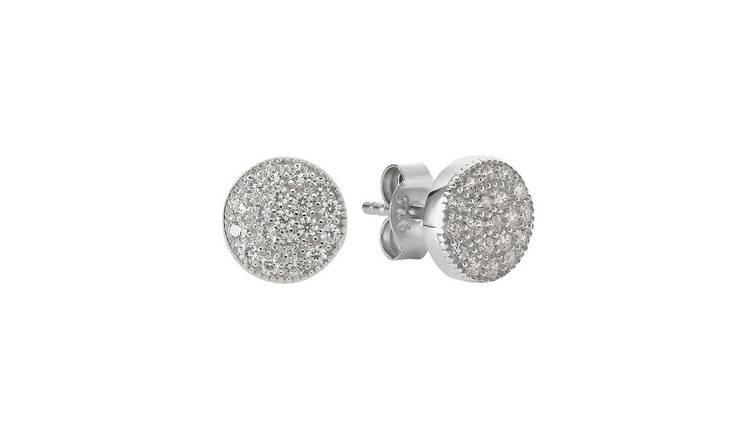 Revere Silver Round Pave Cubic Zirconia Stud Earrings