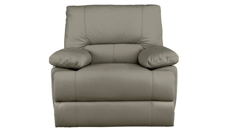 Argos Home Devlin Leather Mix Manual Recliner Chair - Grey