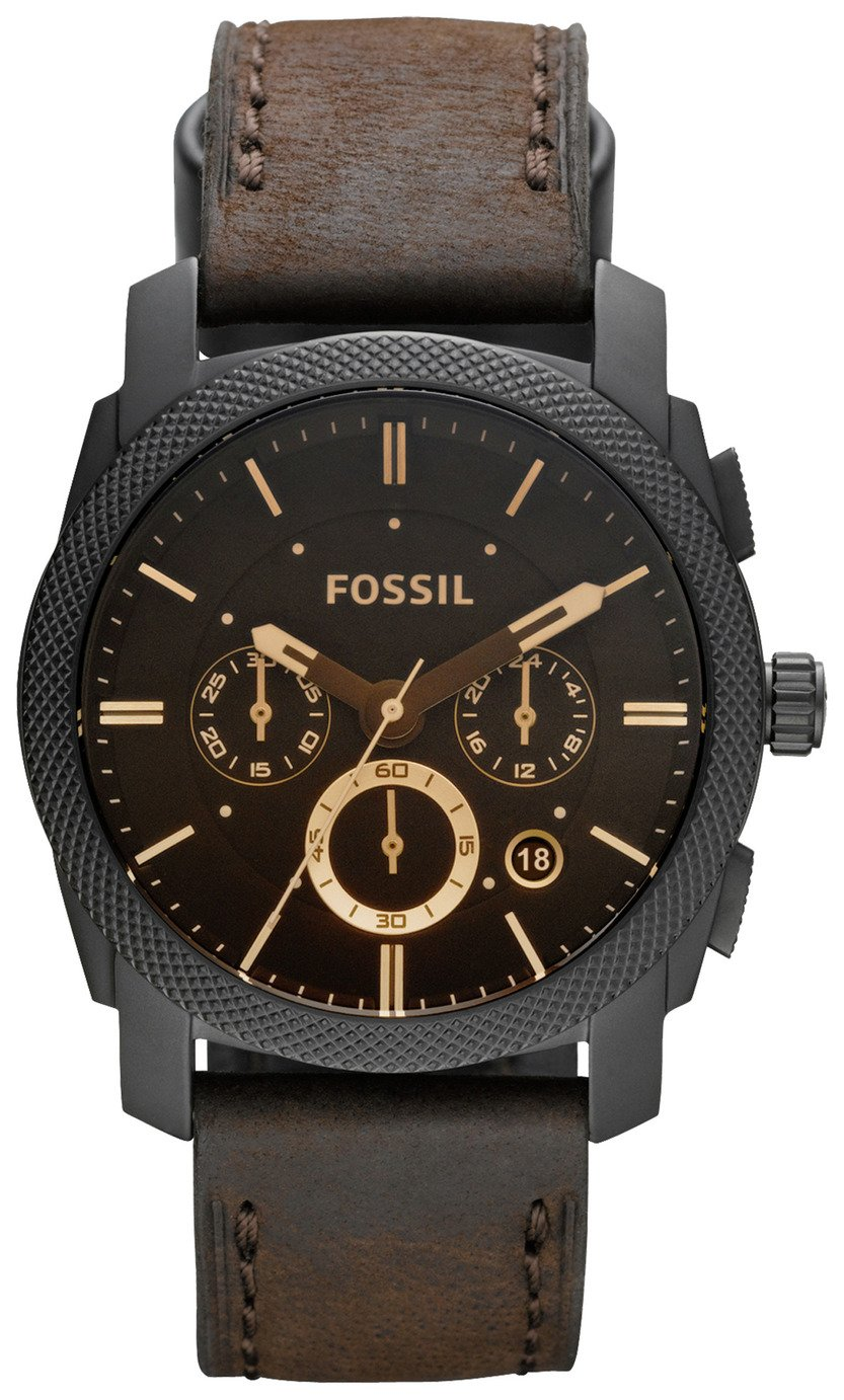 Fossil Machine Men's Brown Leather Strap Chronograph Watch