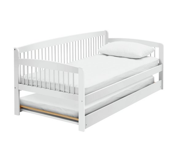 Buy Argos Home Andover White Day Bed with Trundle & 2 Mattresses ...