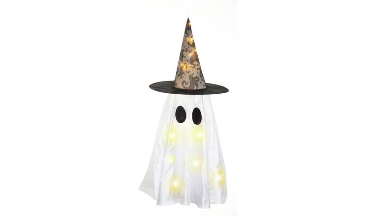 Hanging Ghost in Witch Hat Light Up Decoration