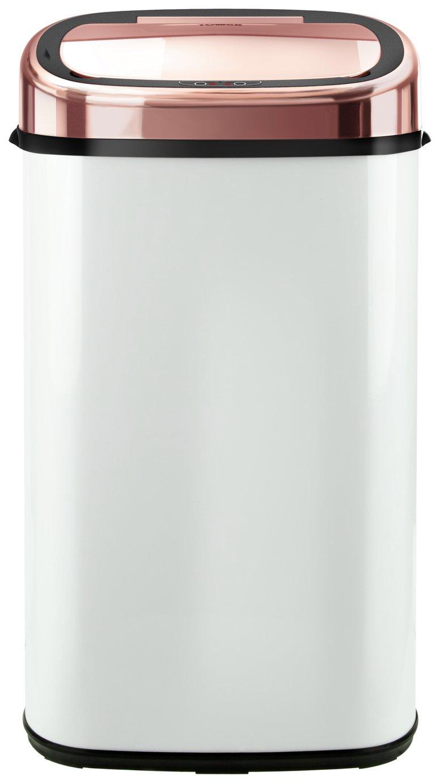 Tower 58L Sensor Bin - White and Rose Gold