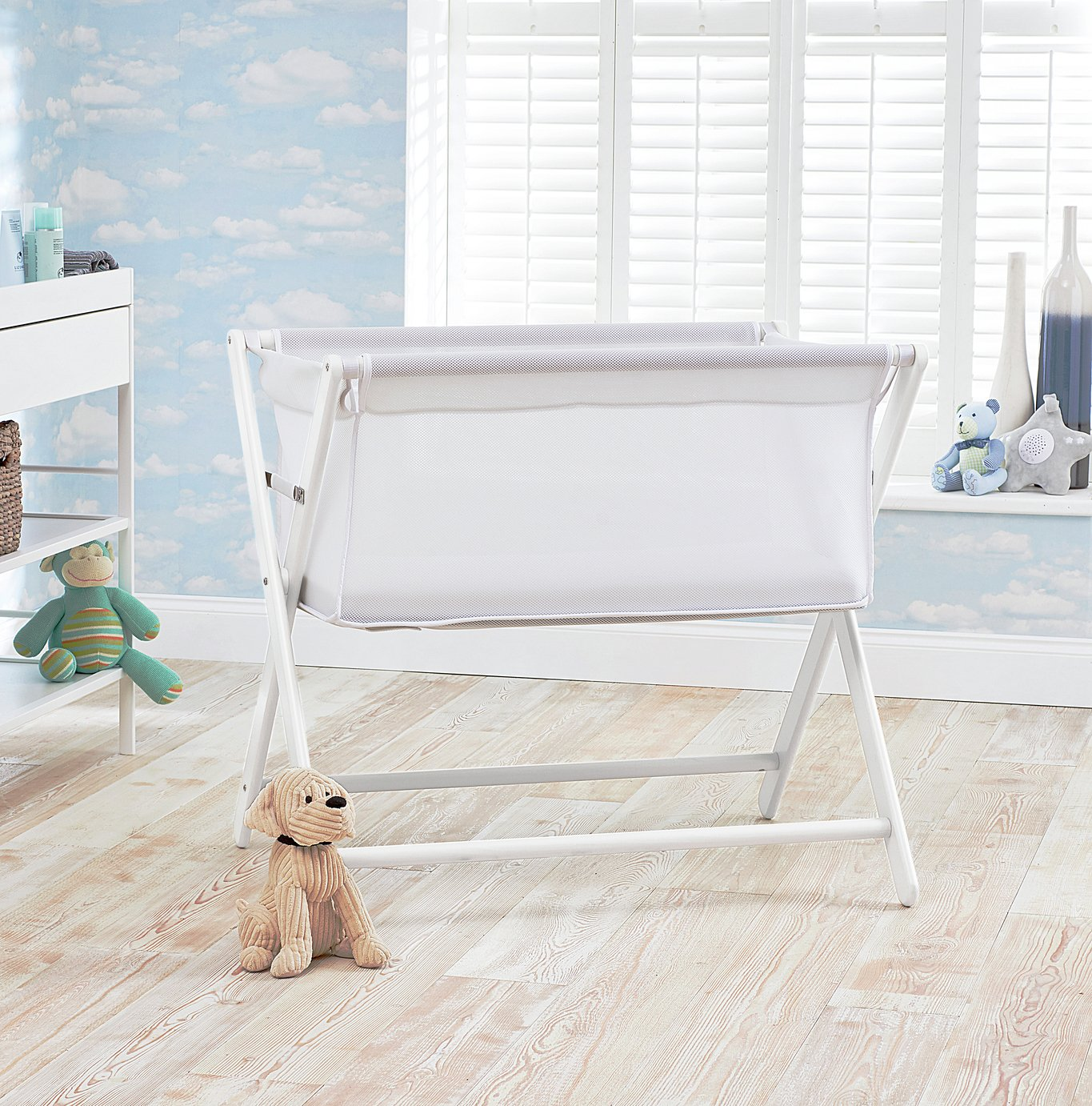 Little Chick London Bedside Crib - Classic White