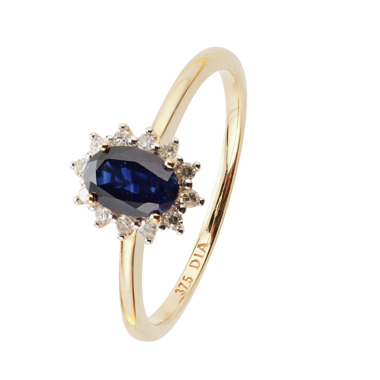 Revere 9ct Yellow Gold Sapphire & Diamond Cluster Ring