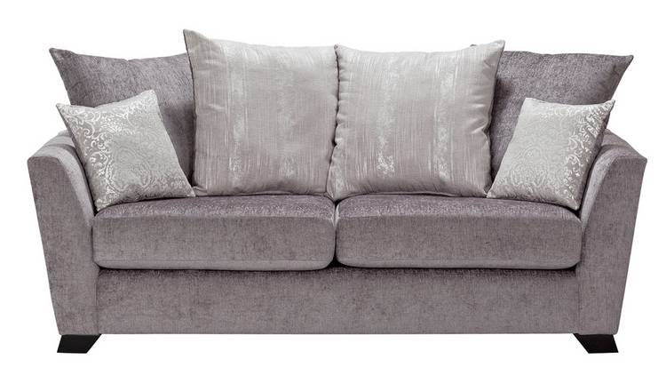 Argos Home Vivienne 3 Seater Fabric Sofa - Silver