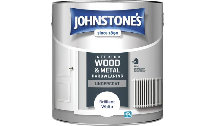 Johnstones Hardwearing Undercoat Paint 2.5L Brilliant White