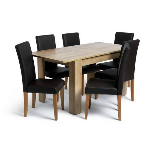 Buy Argos Home Miami Extending Table & 6 Chocolate Chairs