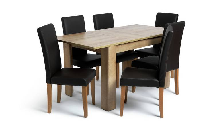 Argos Home Miami Extending Table & 6 Chocolate Chairs