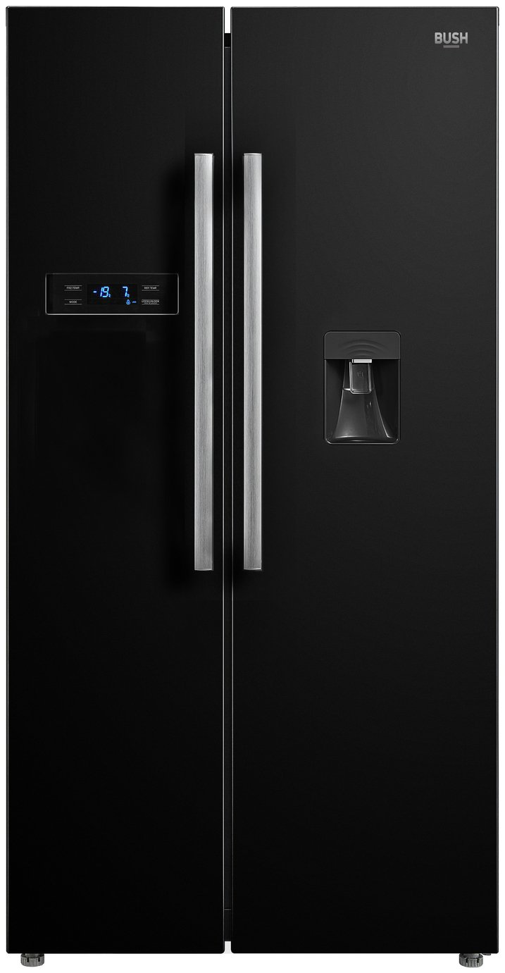 Bush MSBSNFWTDB American Fridge Freezer - Black Best Price, Cheapest Prices