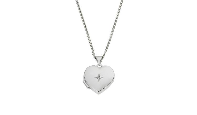 Moon & Back Diamond Accent Heart Locket 18 Inch Necklace