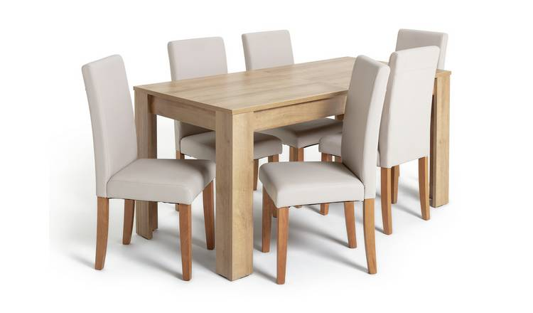 Habitat Miami XL Extending Table & 6 Cream Chairs