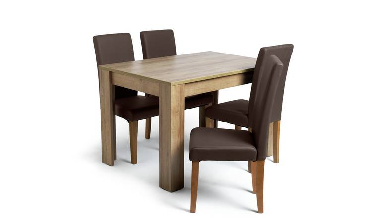 Habitat Miami Oak Effect Table & 4 Chocolate Chairs