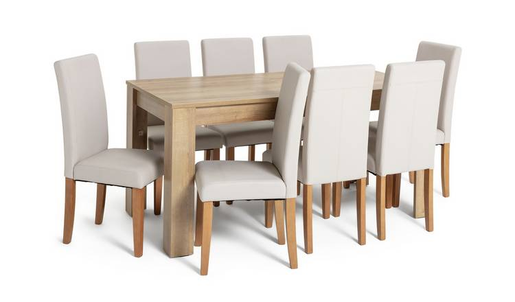 Habitat Miami XL Extending Table & 8 Cream Chairs