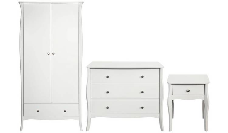Amelie 3 Piece 2 Door Wardrobe Set - White
