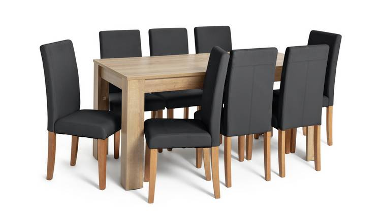 Habitat Miami XL Extending Table & 8 Black Chairs