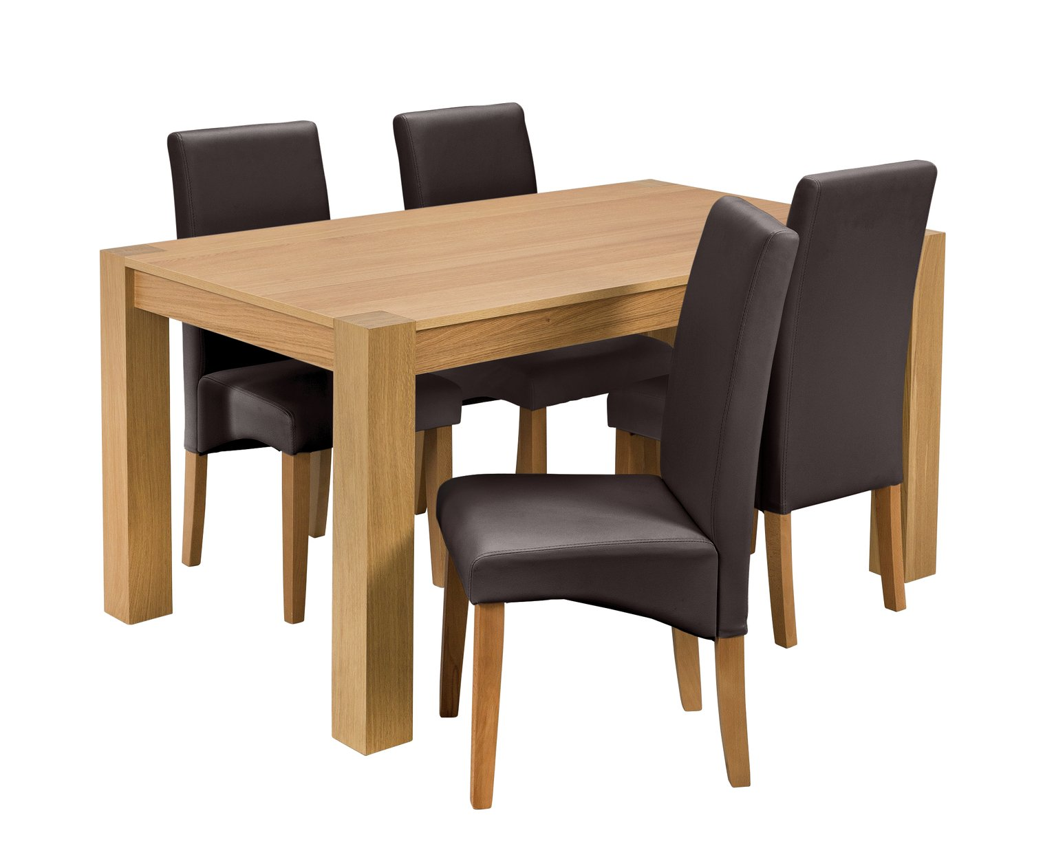 Argos Home Alston Oak Veneer Table and 4 Chairs - Chocolate