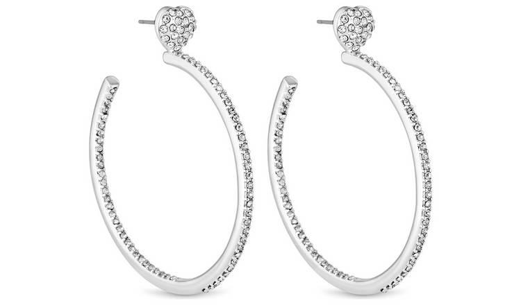 f0832c0a44b0e1 Buy Lipsy Silver Colour Crystal Heart Hoop Earriings | Womens ...