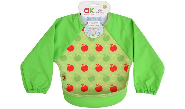 Pink Apples Baby Weaning and Feeding Bib with Pelican Style Pocket Annabel Karmel by Bibetta Ultrabib