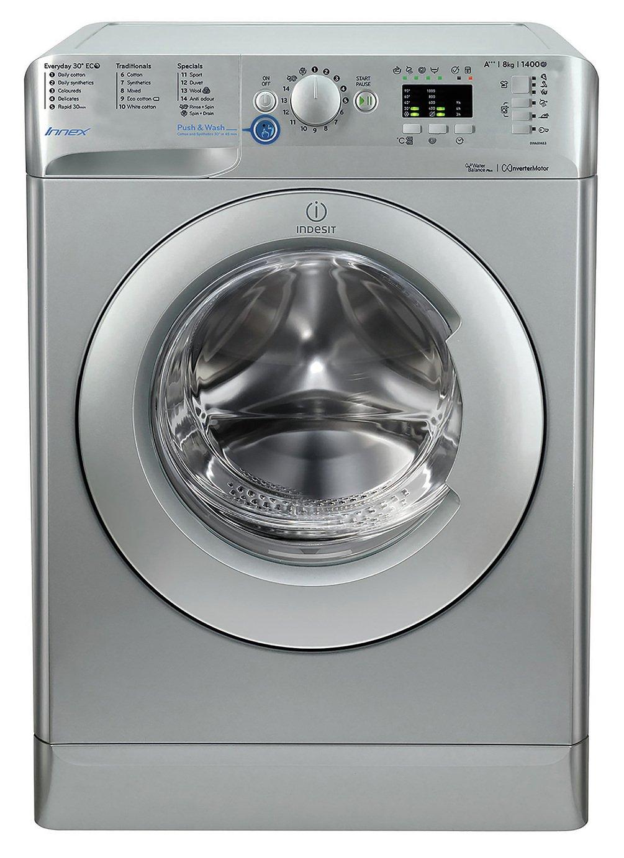 Indesit BWA81483XSUK 8KG 1400 Spin Washing Machine - Silver